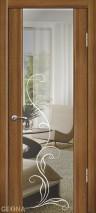 Дверь Геона Люкс 1 орех седой светлый зеркало с ...